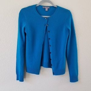 Charter club blue cashmere sweater cardigan size S